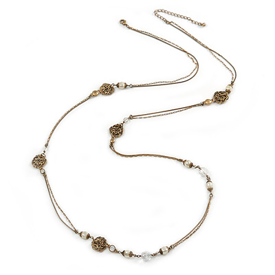 Vintage Inspired Faux Pearl Double Chain Long Necklace In Bronze Tone - 102cm L/ 7cm Ext