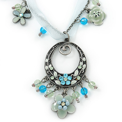 Vintage Inspired Light Blue/ Mint Green Enamel Floral Oval Pendant with Chain And Organza Cord In Pewter Tone - 40cm L/ 5cm Ext