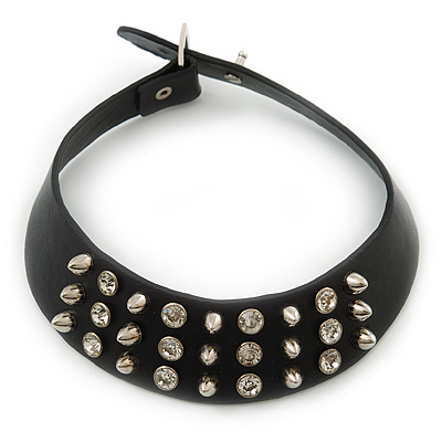 Black Leather Crystal, Spike Choker Necklace In Silver Tone - 34cm L