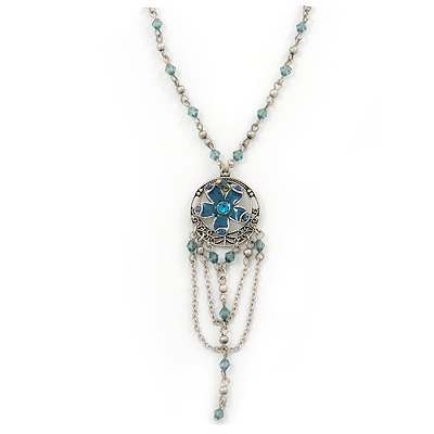 Vintage Inspired Teal Blue Crystal Enamel Floral and Chain Dangle Pendant With Silver Tone Beaded Chain - 42cm L/ 5cm Extt