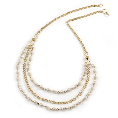 Long Layered Faux Pearl Gold Tone Chain Necklace - 92cm L