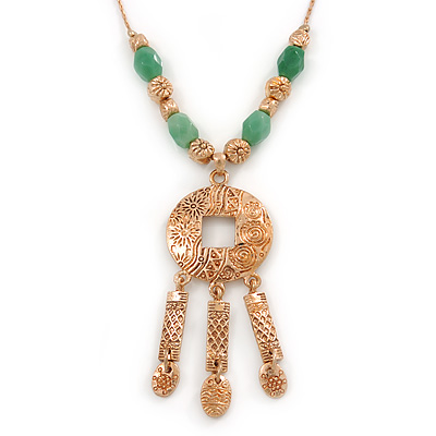 Ethnic Hammered Medallion Pendant with Gold Tone Green Bead Chain - 40cm L/ 4cm Ext