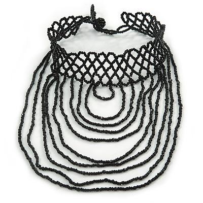Chic Victorian/ Gothic/ Burlesque Black Bead Bib Style Choker Necklace - 28cm L/ 6cm Ext