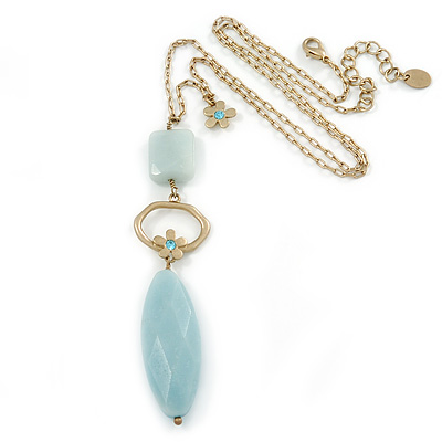Pale Green Resin Oval Pendant with Gold Tone Chain Necklace - 54cm L/ 5cm Ext/ 10cm Pendant