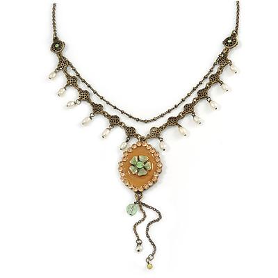 Vintage Inspired Caramel/ Green Enamel Floral Pendant with Bronze Tone Chain Necklace - 40cm L/ 8cm Ext/ 8cm Front Drop - main view