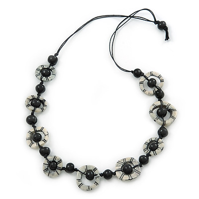 Black/ White Bone, Wood Bead Cotton Cord Necklace - 70cm L