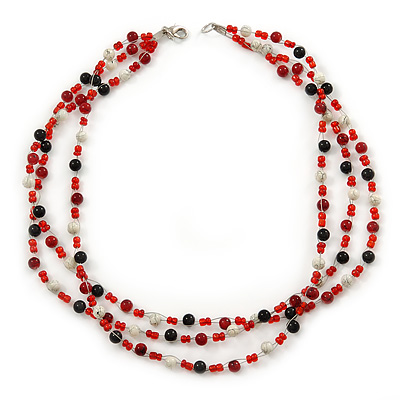 3 Strand Red, Black, White Ceramic & Glass Bead Necklace In Silver Tone - 46cm L