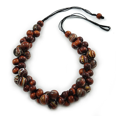 Dark Brown Cluster Wood Bead Black Cotton Cord Necklace - 70cm L