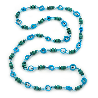 Long Green Wood Bead & Light Blue Bone Ring Necklace - 114cm L