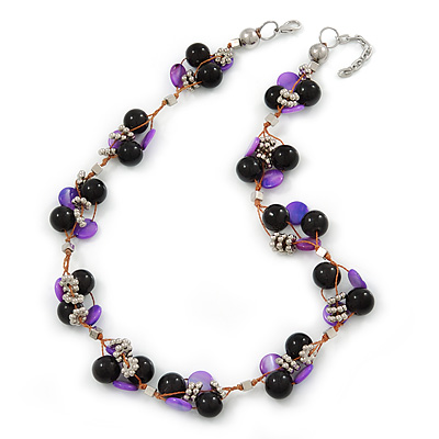 Black Ceramic, Magenta Shell Cluster Bead Necklace In Silver Tone - 46cm L/ 4cm Ext - main view