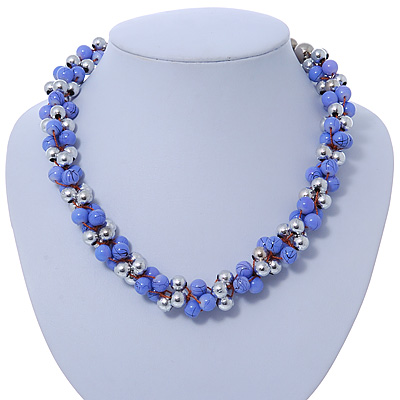 Lilac & Silver Tone Acrylic Bead Cluster Choker Necklace - 38cm L/ 5cm Ext