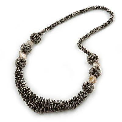 Chunky Metallic Grey Glass Bead Necklace - 70cm L