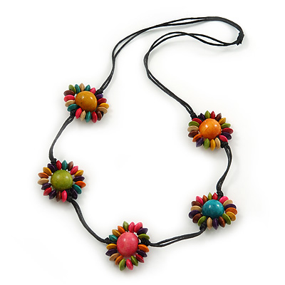 Long Multicoloured Wooden Flowers Cotton Cord Necklace - 72cm L