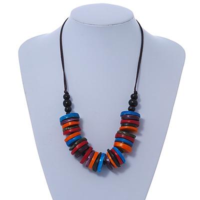 Multicoloured Bone Button Bead Cotton Cord Necklace - 64cm L (Adjustable)