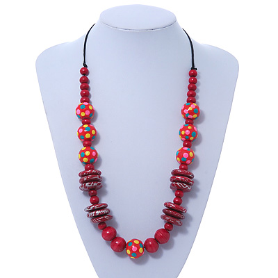 Raspberry Pink, Crimson Wood Bead Cotton Cord Necklace - 74cm L