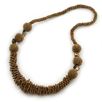 Chunky Bronze Gold Coloured Glass Bead Necklace - 70cm L