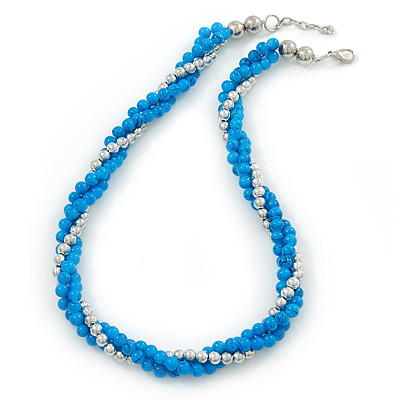 Turquoise Blue Ceramic And Silver Metal Bead Multistrand Twisted Necklace In Silver Tone - 44cm L/ 2cm Ext