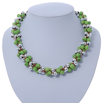 Lime Green & Silver Tone Acrylic Bead Cluster Choker Necklace - 38cm L/ 5cm Ex - main view