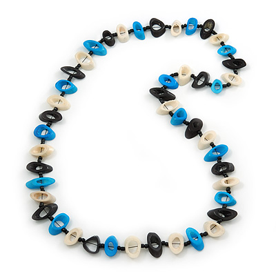 Black, Light Blue, White Bone Bead Necklace - 80cm L