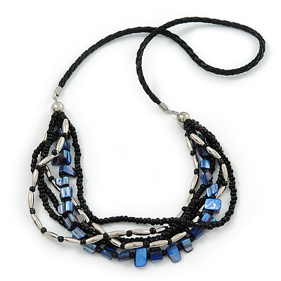Black Glass Bead, Cobalt Blue Shell Nugget With Black Leather Style Cord Necklace - 60cm L
