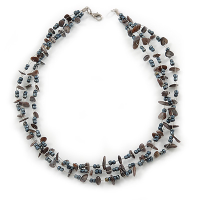 3 Strand Hematite Glass Bead, Sea Shell Nugget Wired Necklace In Silver Tone - 48cm L