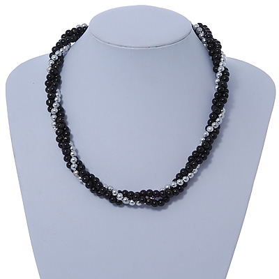 Black Ceramic And Silver Metal Bead Multistrand Twisted Necklace In Silver Tone - 44cm L
