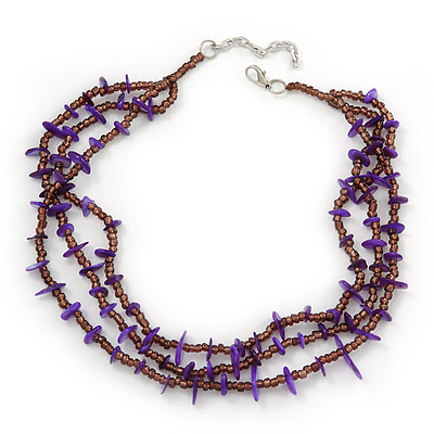3 Strand Violet Shell Nugget, Lavender Glass Bead Necklace In Silver Tone - 42cm L/ 5cm Ext - main view