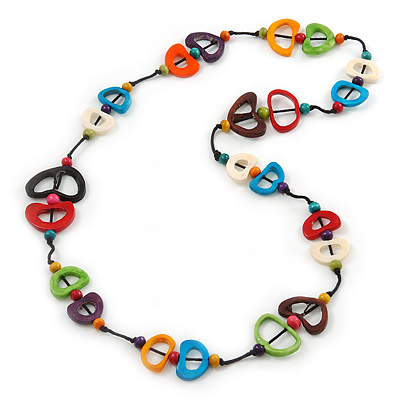 Multicoloured Bone, Wood Bead Cotton Cord Long Necklace - 92cm L