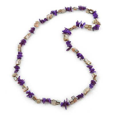 Violet, Antique White Shell Nugget Bead Necklace - 70cm L