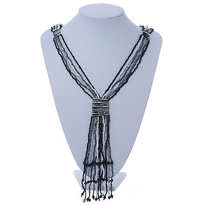 Black, Grey, White Transparent Glass Bead Tassel Necklace - 60cm L/ 15cm L (Tassel)