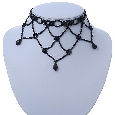 Fancy Dress Party Black Acrylic, Glass Bead Bib Choker Necklace - 28cm L/ 7cm Ext - main view