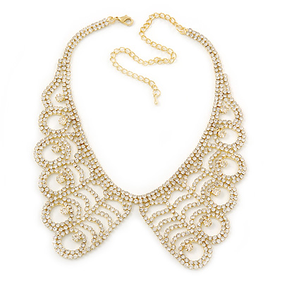 Clear Austrian Crystal Collar Necklace In Gold Plating - 30cm Length/ 15cm Extension