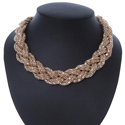 Gold Tone Mesh Choker Necklace - 38cm Length/ 4cm Extension