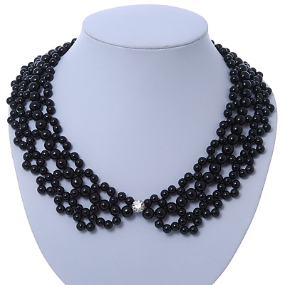 Black Imitation Pearl Bead Collar Necklace In Silver Tone - 38cm L/ 4cm Ext
