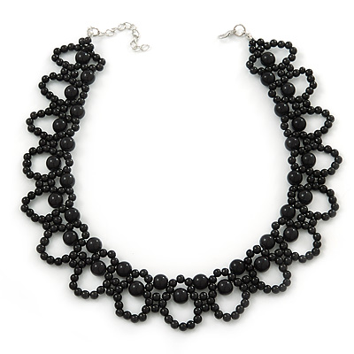 Black Imitation Pearl Bead Collar Style Necklace In Silver Tone - 36cm L/ 6cm Ext
