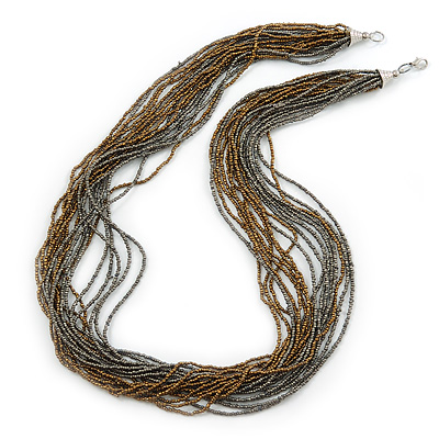 Multistrand Metallic Grey/ Bronze Glass Bead Necklace - 70cm L