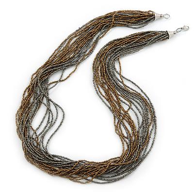 Multistrand Metallic Grey/ Bronze Glass Bead Necklace - 70cm L - main view