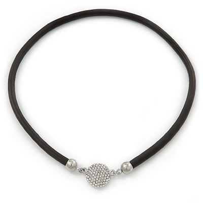 Black Rubber Necklace With Crystal Round Magnetic Closure - 38cm L