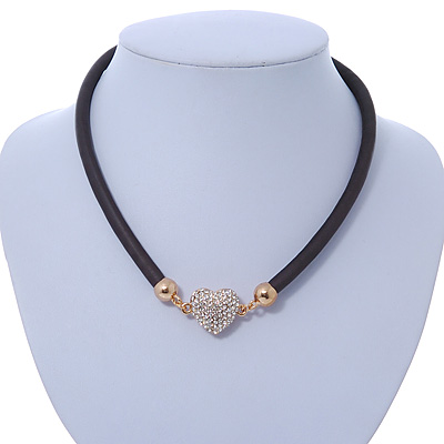 Black Rubber Necklace With Crystal Heart Magnetic Closure (Gold Tone) - 38cm L