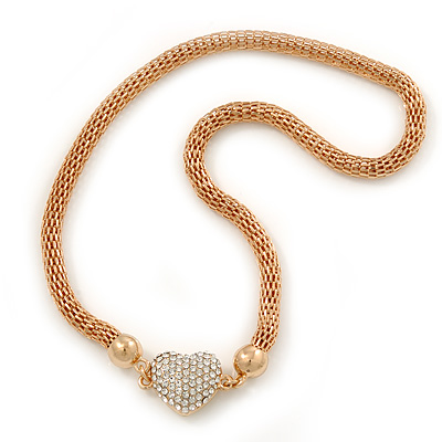 Gold Tone Mesh Necklace With Crystal Heart Pendant, With Magnetic Closure - 36cm L