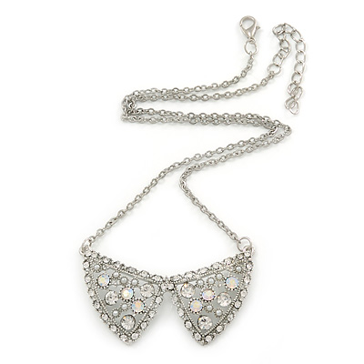 Crystal, Faux Pearl 'Collar' Pendant With Silver Tone Chain - 42cm L/ 6cm Ext