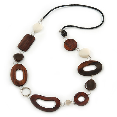 Brown Wood Oval Link, White Ceramic Bead, Black Faux Leather Cord Necklace - 80cm L - main view