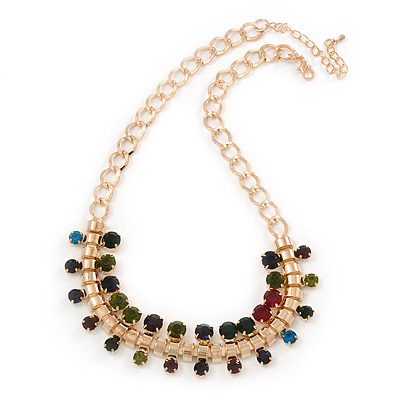 Statement Multicoloured Acrylic Bead Chunky Chain Necklace In Gold Tone - 40cm Length/ 7cm Extension - main view