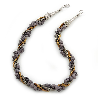 Bronze/ Grey/ Metallic Glass Bead Twisted Necklace with Silver Tone Clasp - 47cm L