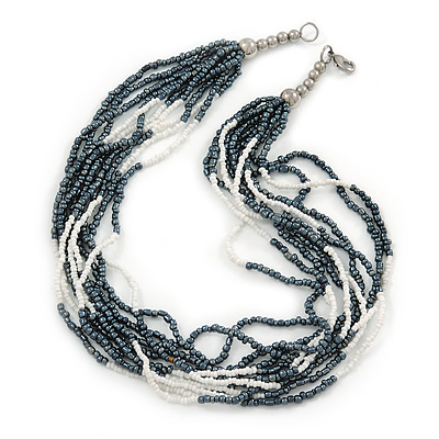 Hematite/ White Multistrand Glass Bead Necklace with Silver Tone Closure - 46cm L - main view