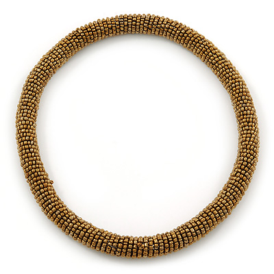 Statement Chunky Golden Bronze Beaded Stretch Choker Necklace - 44cm L