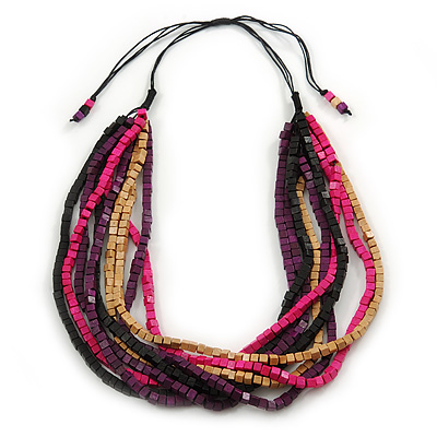 Multi-Strand Lime Purple/ Black/ Magenta/ Beige Wood Bead Adjustable Cord Necklace - 46cm to 58cm L