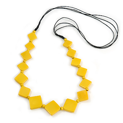 Long Yellow Bone Square Bead Black Cotton Cord Necklace - 82cm L