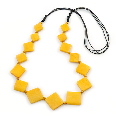 Long Yellow Bone Square Bead Black Cotton Cord Necklace - 86cm L