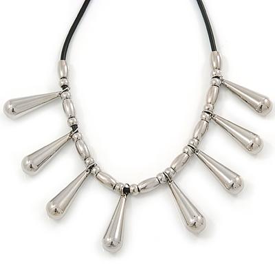 Silver Tone Teardrop Bead, Black Rubber Cord Necklace - 47cm L/ 4cm Ext - main view